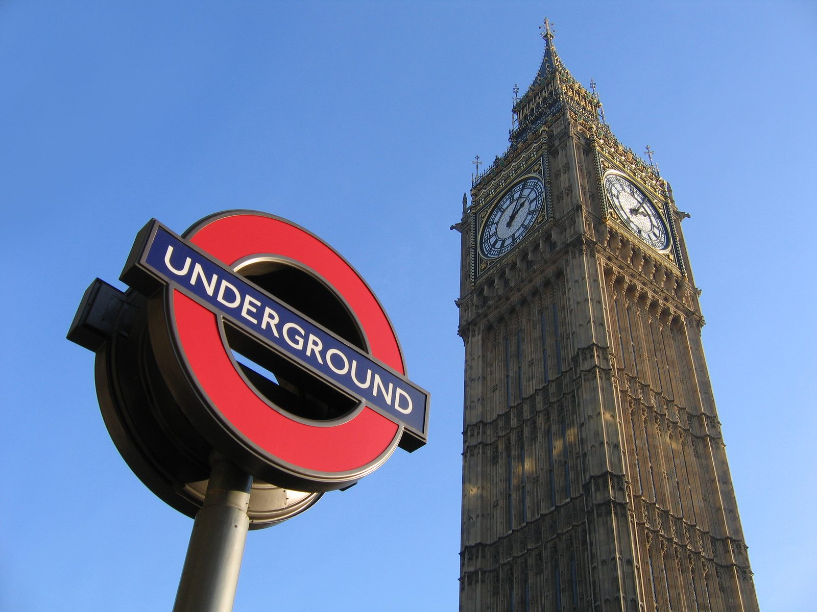 big ben by the houses of parliament in london and the underground., famous signs