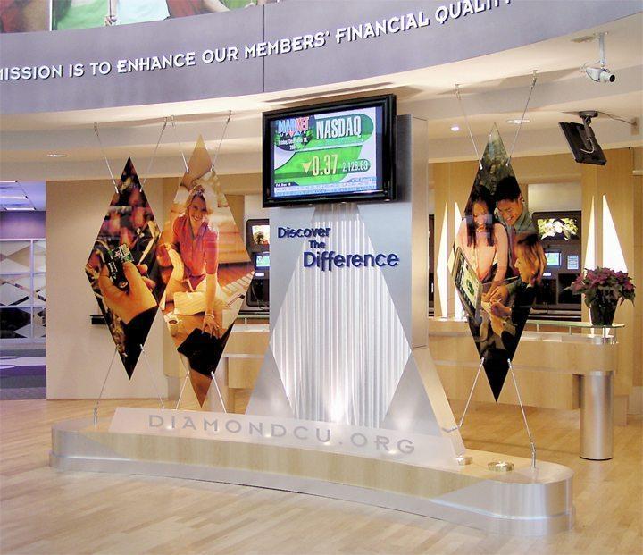 diamond credit union indoor sign and display