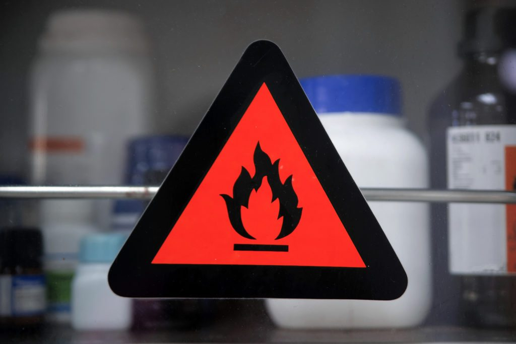 The Hazard symbols for chemicals at Chemical storage cabinets