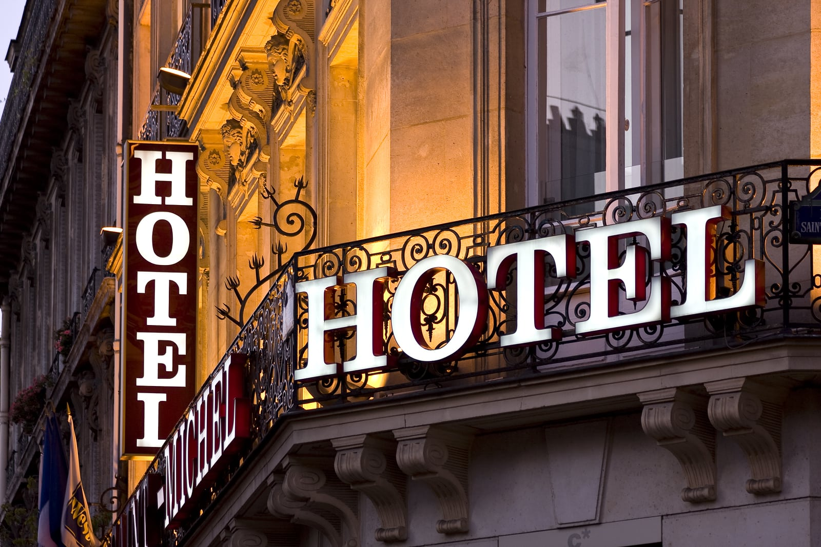 high quality, lit-up hotel sign