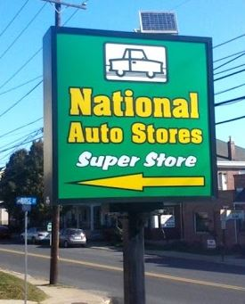 National Auto Stores wayfinding sign by Bartush Signs
