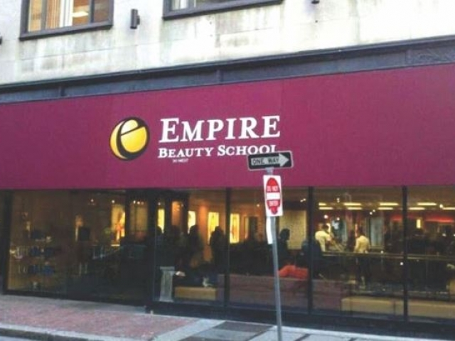 maroon sign for beauty school