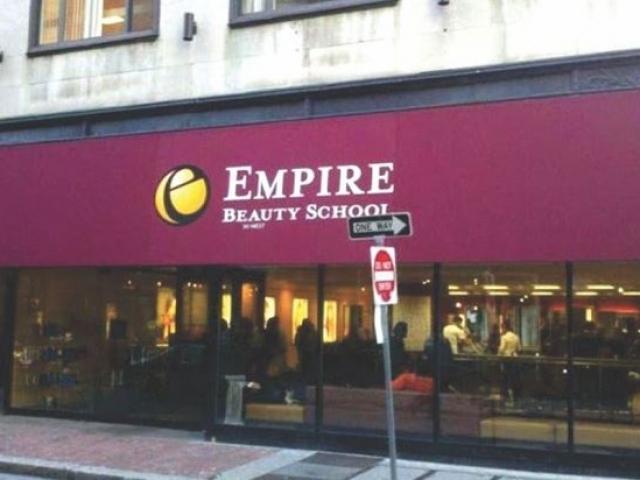 maroon sign for beauty school