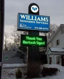 williams insurance services led sign