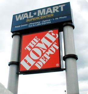 Walmart Supercenter and home depot