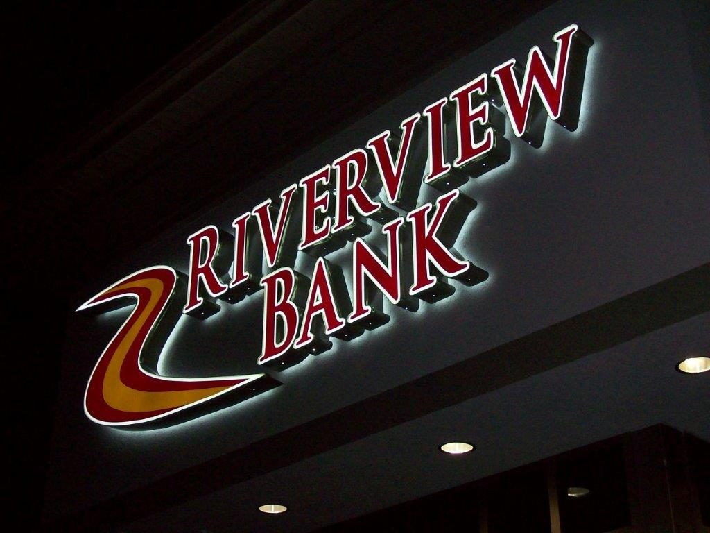 riverview bank sign lit up