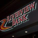 riverview bank sign lit up