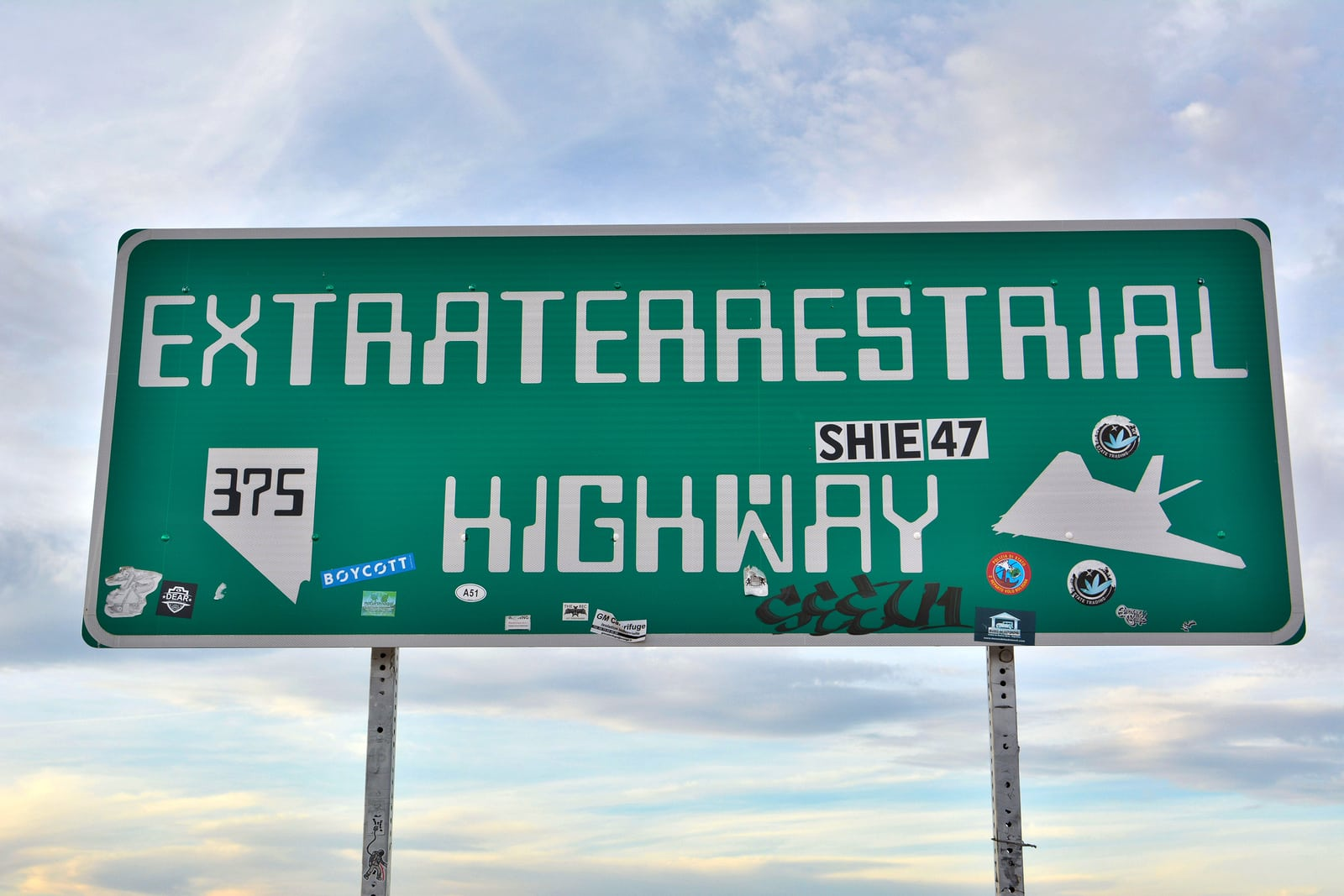 Rachel, Nevada, United States of America - November 21, 2017. Extraterrestrial Highway sign on SR-375 highway in Rachel, NV.