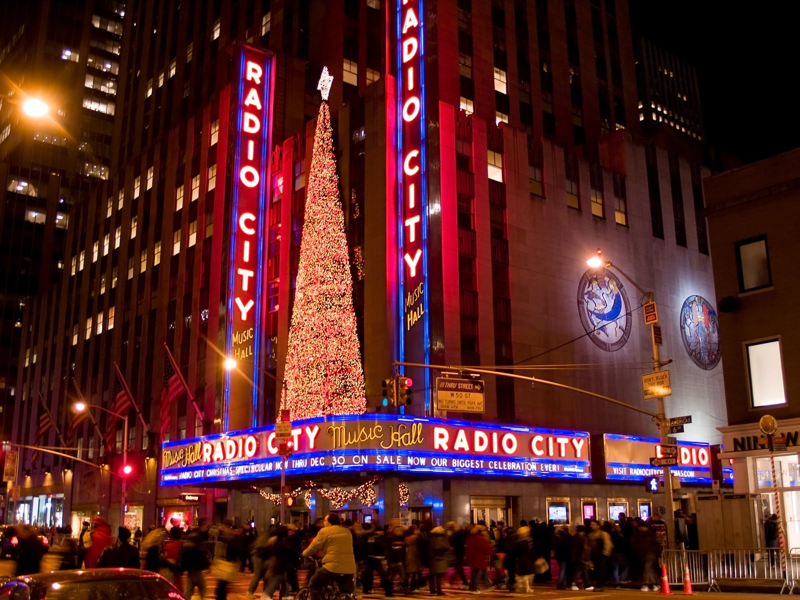Radio City Music Hall Rockefeller Center NY Dec 5th 2008: Large crowds are all around Rockefeller Center and Radio City Music Hall during the holidays.