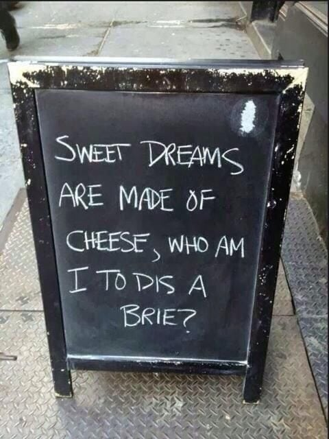 Sign with cheese pun