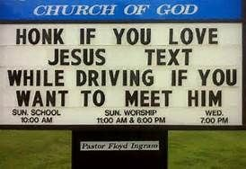 Church sign about texting and driving