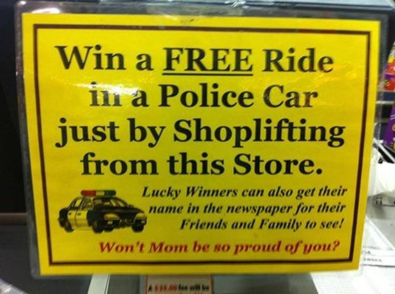 Sign about shoplifting