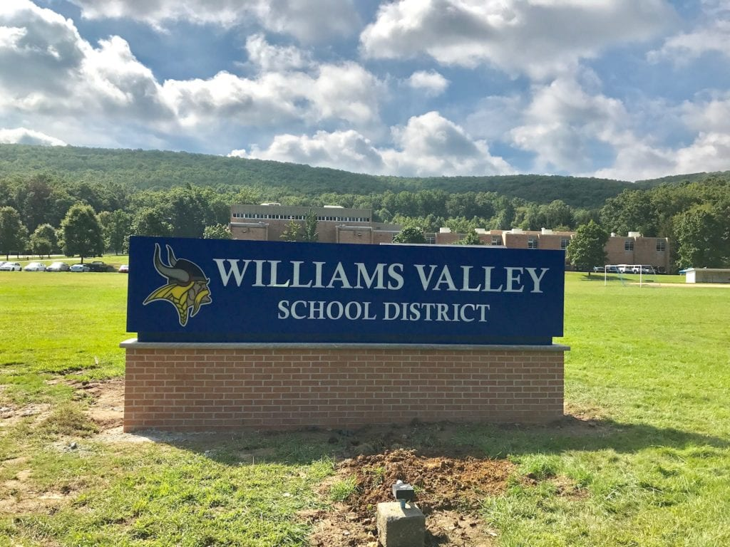 Williams valley school district sign