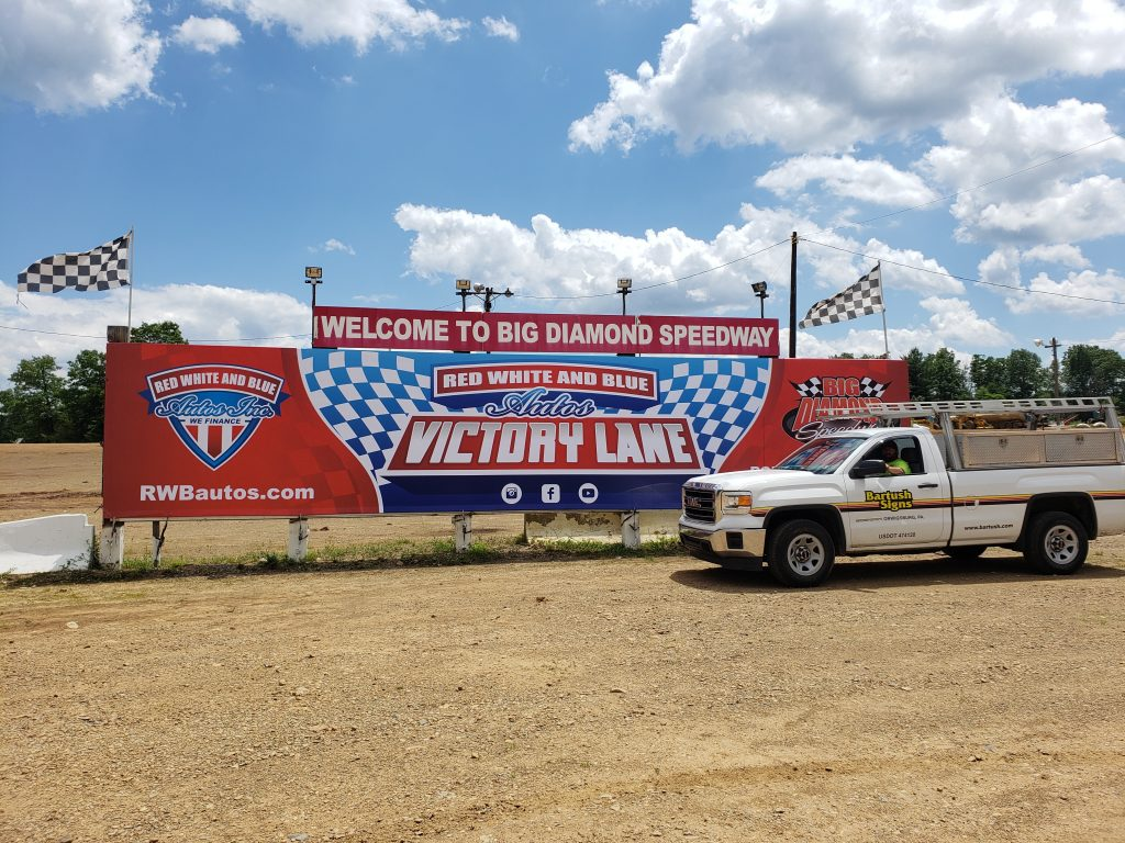 Welcome to Big Diamond Speedway Sign