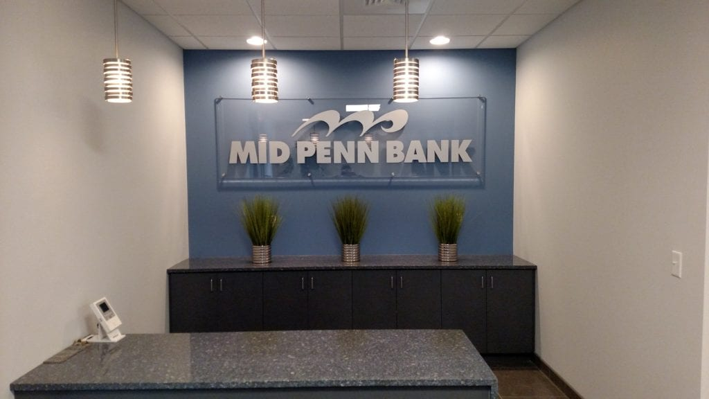mid penn bank package office indoor sign
