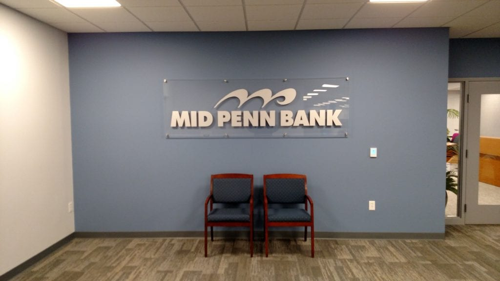 Mid Penn Bank indoor office wall sign