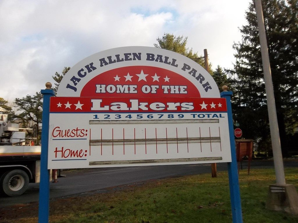 jack allen ball park home of the lakers traditional sports sign
