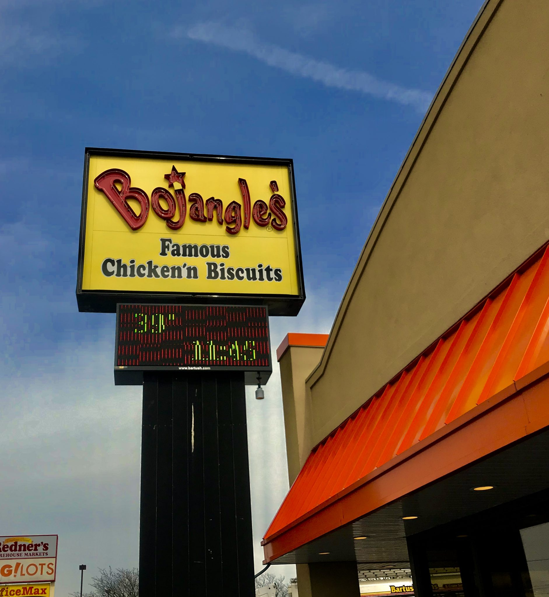 Bojangles free standing sign reading, pa